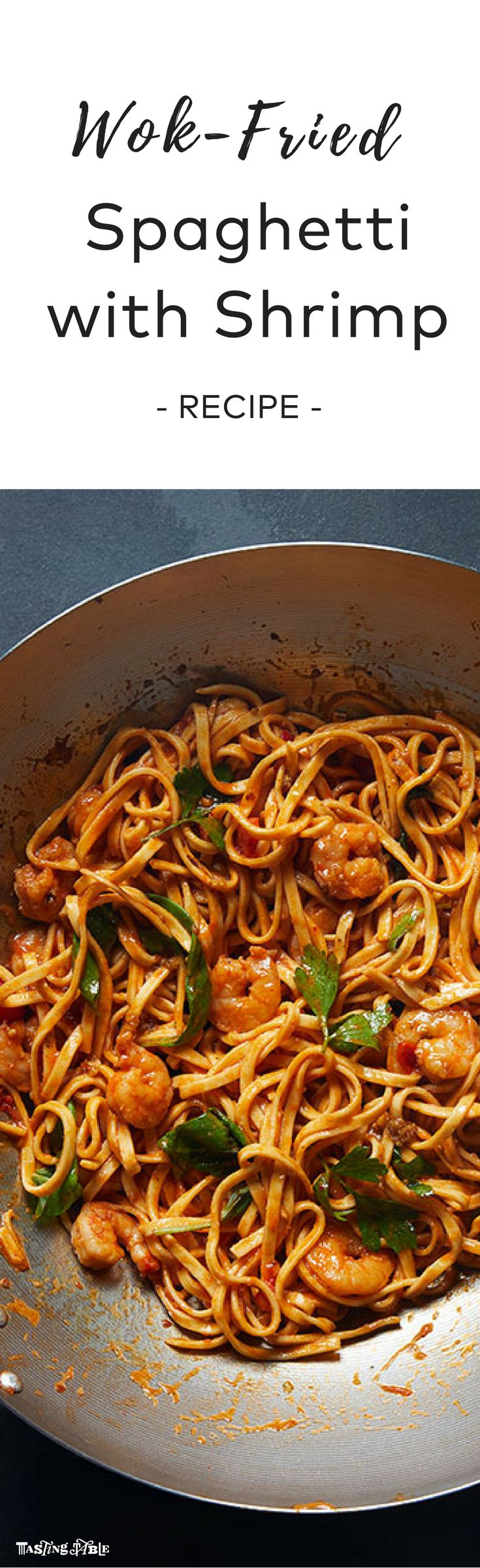 Fresh spaghetti is stir-fried in a wok before getting tossed in a spicy arrabbiata sauce with shrimp for a new twist on a classic pasta dish.