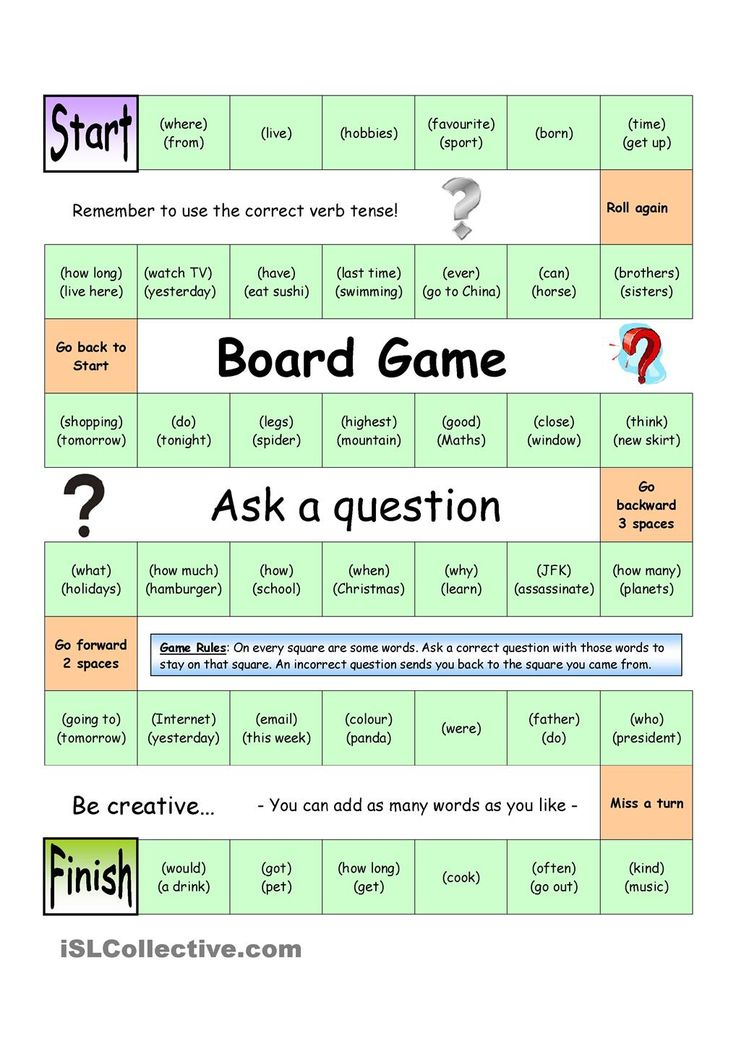 Board Game Ask A Question Medium Aulas De Inglês