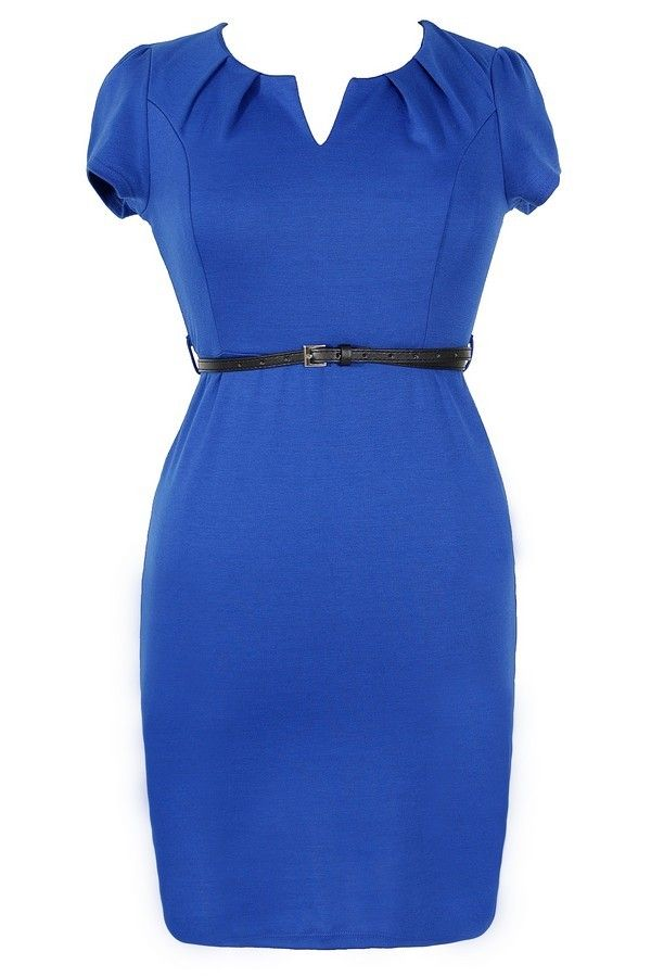 Posh and Professional Belted Pencil Dress in Blue - Plus Size   www.lilyboutique.com