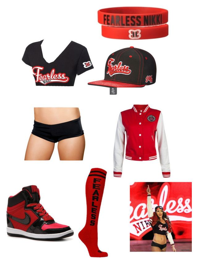 """Nikki Bella fearless"" by cateyetiny ❤ liked on Polyvore featuring Monday and NIKE"