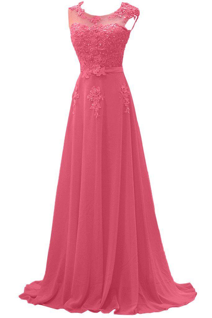 Gorgeous Bride Modisch Lang Rundkragen A-Linie Chiffon Tuell Spitze Schleppe Abendkleider Festkleider Ballkleider: Amazon.de: Bekleidung