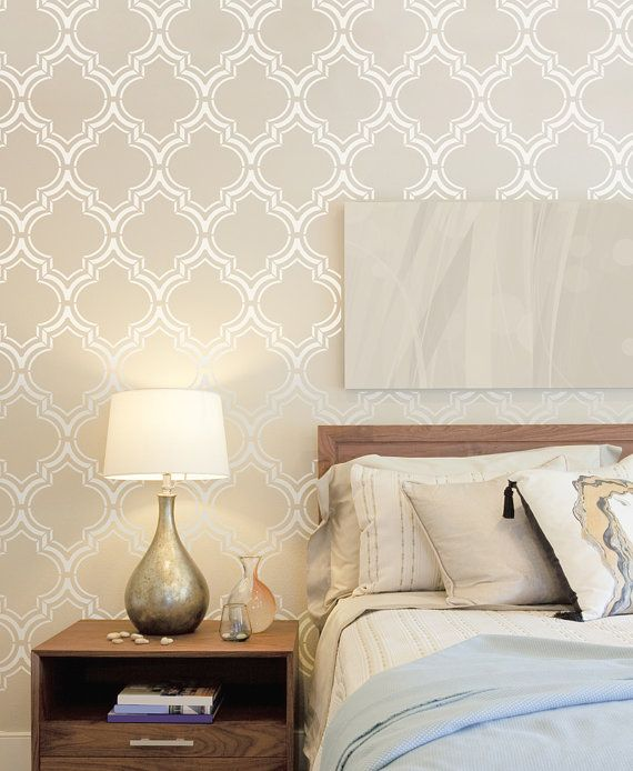 New! Moroccan Wall stencil large, Royal Moroccan Wall Stencil for DIY project - Wallpaper look - Easy home decor