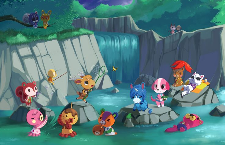 "Miss my villagers! (""Animal Crossing: Waterfall"" by Jiayi | May 4, 2014) #animalcrossing #acnl"