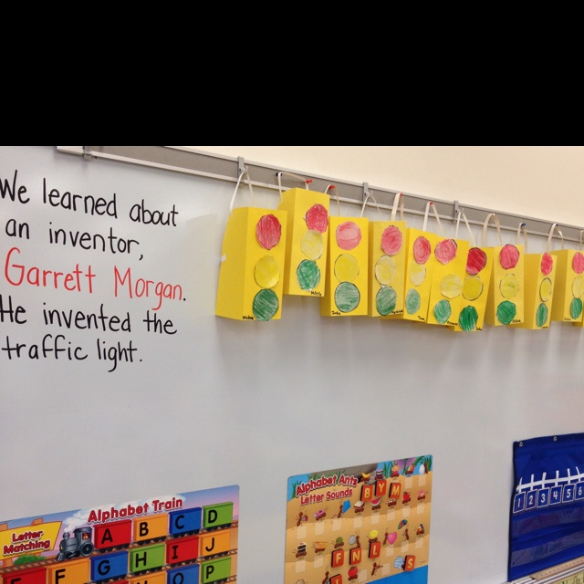 Black History Project. Learning about Garrett Morgan, inventor of the traffic light. Traffic lights made by pre k students. -2012