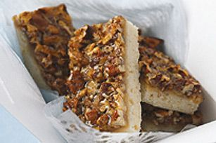 With a cookie crust and a pecan pie filling, these Pecan Bars hit all the right notes.  This big batch of hand-held bars is perfect for bake sales or potlucks.