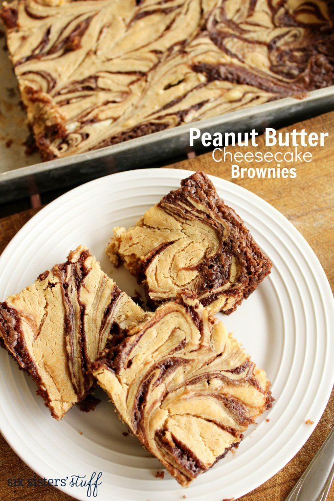 Peanut Butter Cheesecake Brownies from  @sixsistersstuff | Perfect for a party or a fun at-home treat.