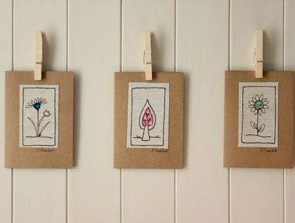 Pack of three freehand machine embroidered cards