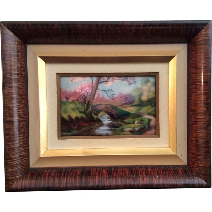"Limoges Enamel painting ""Printemps, Le vieux Foret"" by Camille Fauré - Exclusively from Luxury French Collection on Ruby Lane"