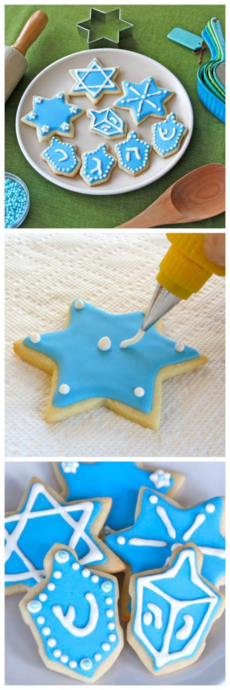 Hanukkah Holiday Sugar Cookies - Recipes and Decorating Tutorial on ToriAvey.com