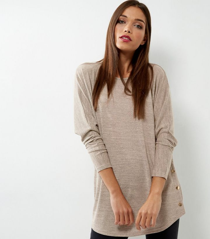 Camel Batwing Sleeve Stud Side Top | New Look
