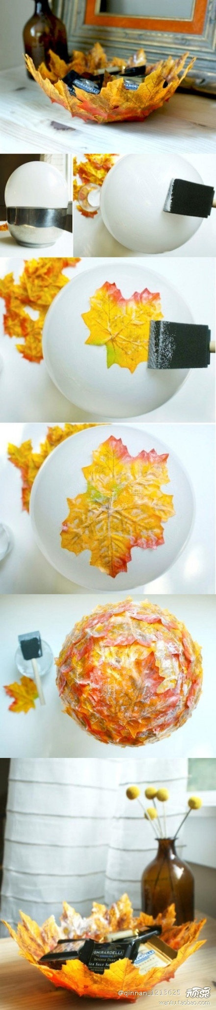 To make a leaf bowl, here is what you will need:  Several dozen palm-sized leaves. They should still be pliable and not dry. If you wish you may use artificial fall leaves.  Mod Podge.  Paintbrush Plastic Wrap Cooking Spray Paint Brush Medium sized bowl Once you have your supplies organized, put the bowl together!