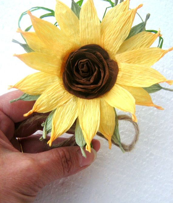 2 Sunflower boutonniere Crepe paper flowers by babyshowerflowers