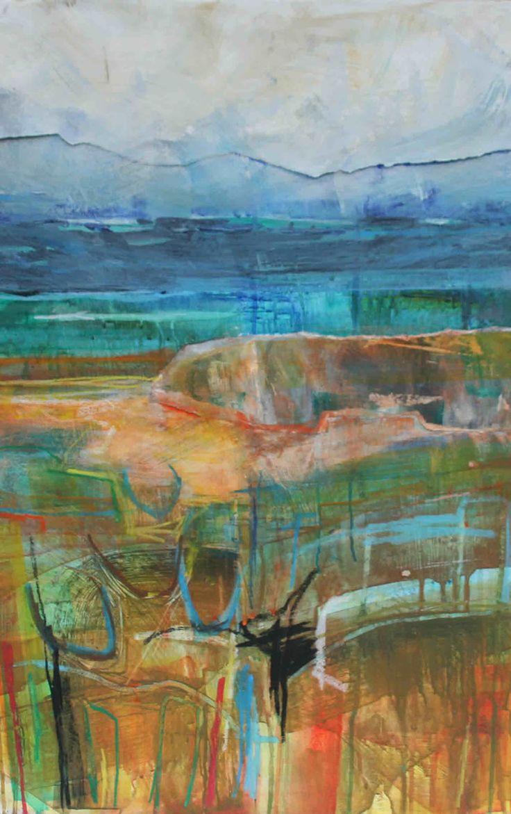 Abstract Seascape with Boats Mixed Media and Collage on Board 76 x 51 cm  #Art #Paintings #Seascape