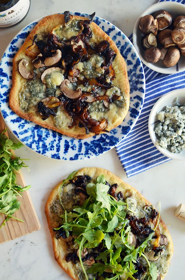 blue cheese, mushroom & caramelized onion flatbreads...perfect for any dinner party!