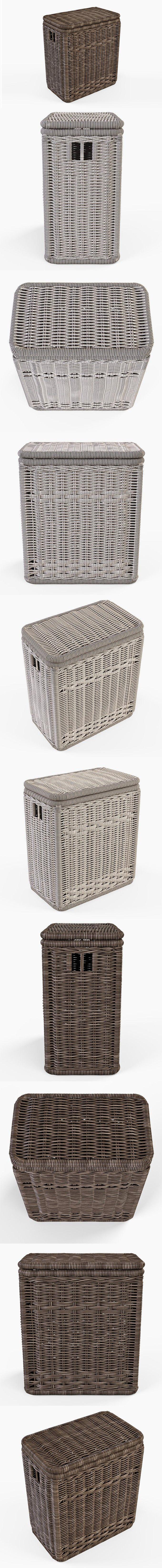 Wicker Laundry Hamper 08 Brown. 3D Objects