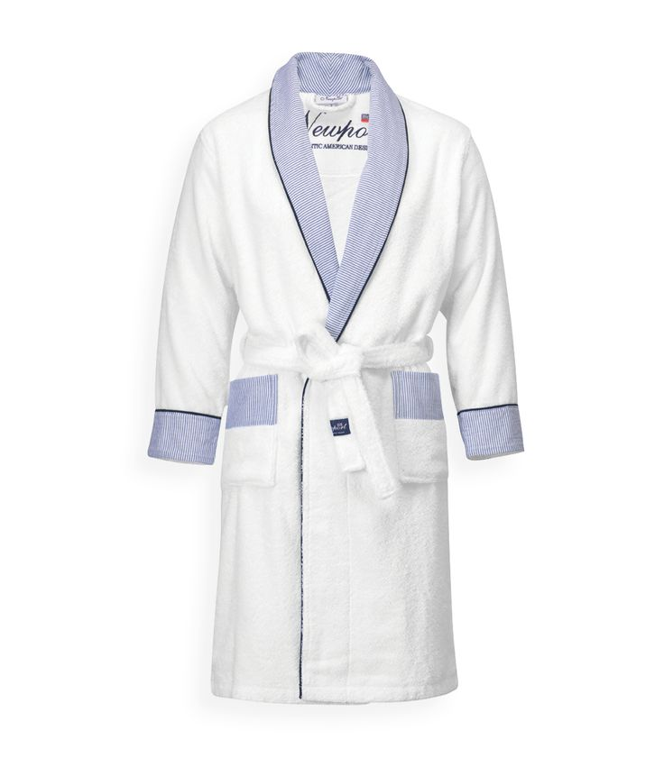 Riviera Bathrobe. By Newport Collection. White bathrobe with classic Pin Stripe details in blue/white. Made from 100% cotton in Turkey. Unisex. Öko-Tex. #Newport #Newportcollection #riviera #bathrobe