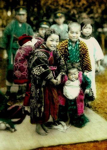 BAREFOOT AND BUNDLED IN OLD JAPAN -- Little Miss Meiji and Her Three Brothers by Okinawa Soba, via Flickr. By an anonymous photographer on the streets of Japan. Ca.1900