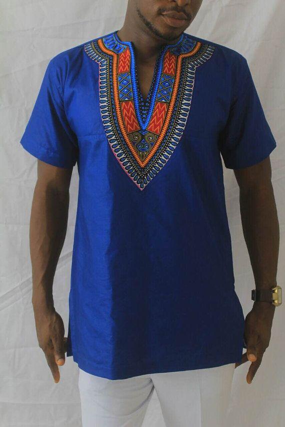 Unique style Mens Dashiki; Blue Mens Dashiki; African ...