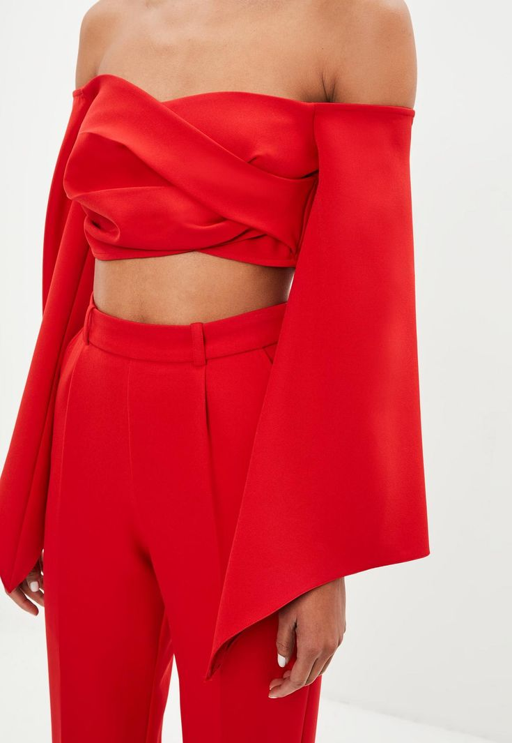 Missguided - Peace   Love Red Bardot Crepe Wrap Top