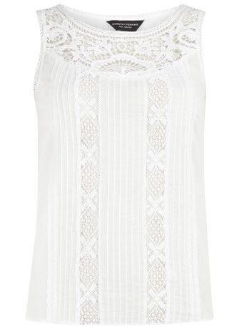 White lace insert shell top - Blouses & Shirts - Tops  - Clothing