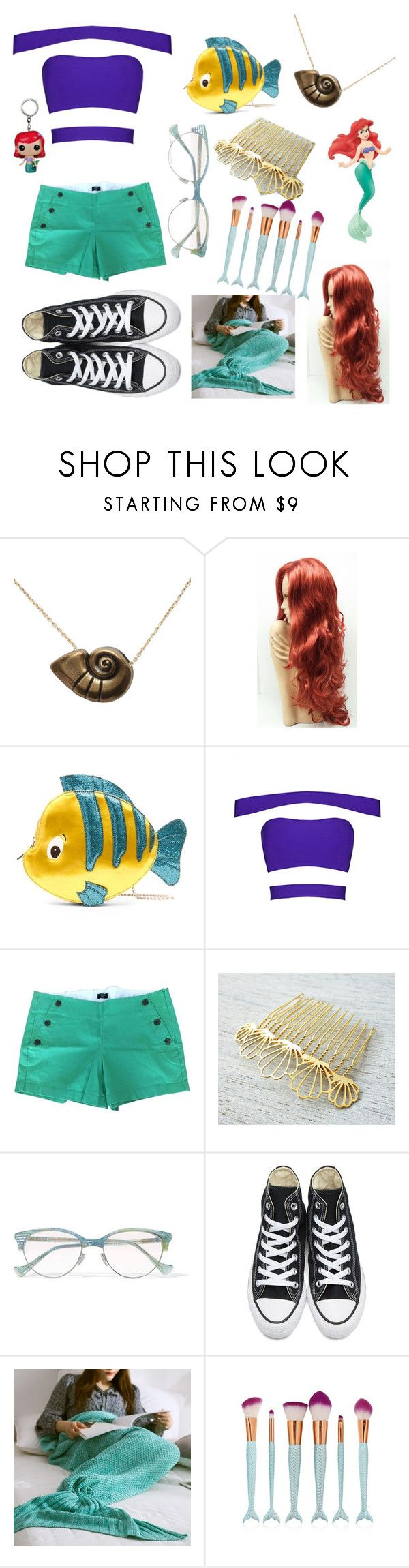 """the little mermaid is presented"" by happyascanbe855 ❤ liked on Polyvore featuring Disney, Danielle Nicole, J.Crew, shlomitofir, Cutler and Gross and Converse"