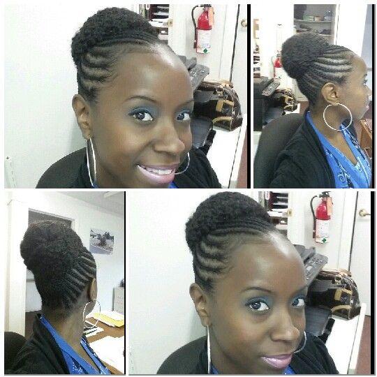 Marley Bun With Cornrows Hairstyles Braided Bun