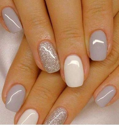 nice light grey gel nails with glitter  stepupladies