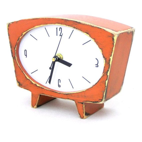 FREE SHIPPING Orange Table clock, Wood Desk Clock, Wooden Vintage 60s style clock, Unique Handmade Gift, Tangerine / Pumpkin clock for her, Xmas gift  Wooden clock handmade and handpainted with acrylic paints, protected ecological varnish.  Made from wood and plywood.  -Mounted quartz -Powered on battery AA  -Paints on the clock can be a little different from the one in the picture  This clock is entirely made at Artma Studio.  Size: 19 cm / 7,4 width 6 cm / 2,3 depth 14 cm / 5,5 height…