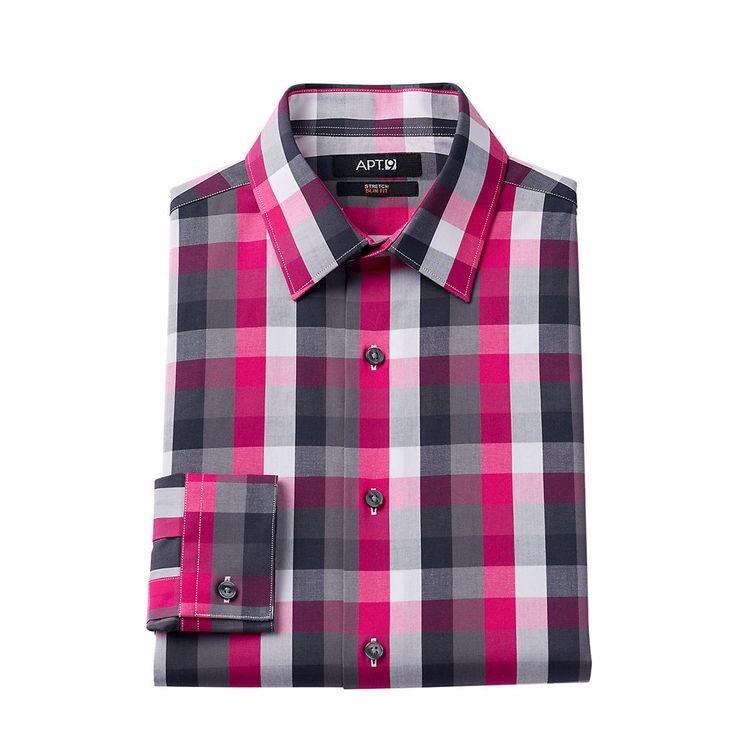Men\'s Apt. 9 ® Slim-Fit Plaid Stretch Dress Shirt | Shoes ...