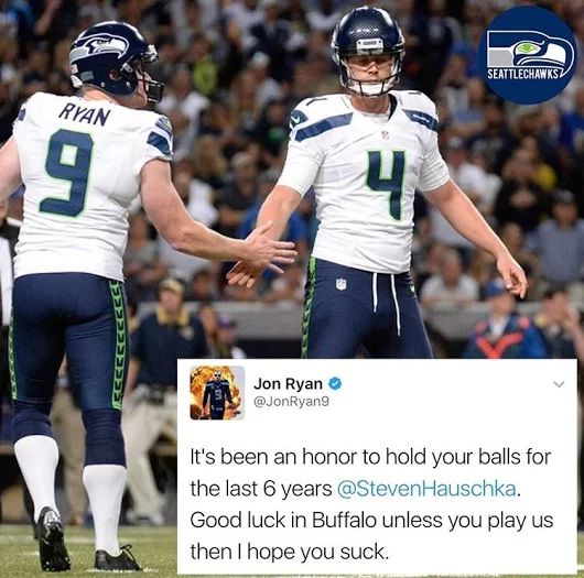 Seahawk send off. Lol! Our Ginja Ninja has a way with words. I HATE that Hauschka will be kicking for someone else!