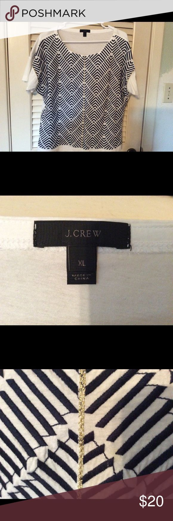 🌸 Embroidered J Crew Top 🌸 Blue and white embroidered J Crew top with subtle gold braided detail. Great condition! J. Crew Tops Tees - Short Sleeve