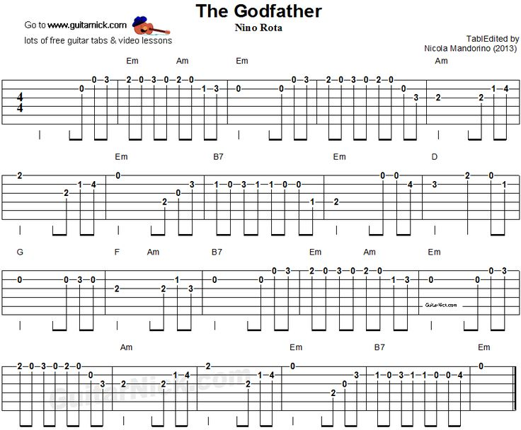 The Godfather - easy guitar tablature
