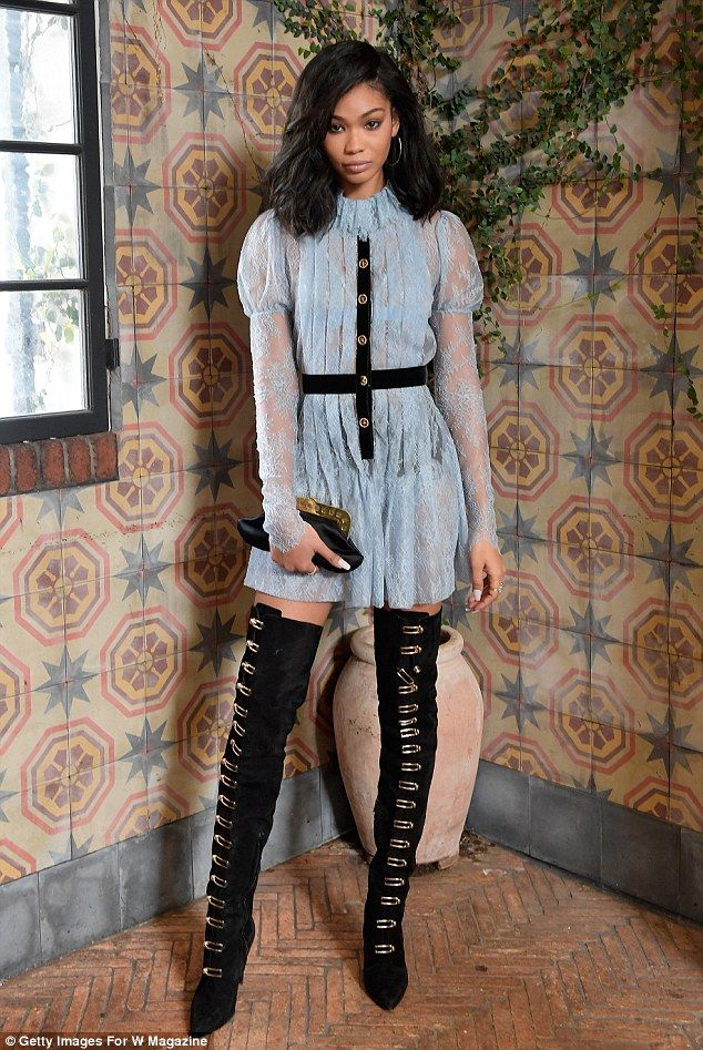 Meanwhile, back at the W Magazine event: At AOC on Saturday, Chanel Iman wore black thigh-high boots that played up her spectacular legs and were lined with gleaming buckles