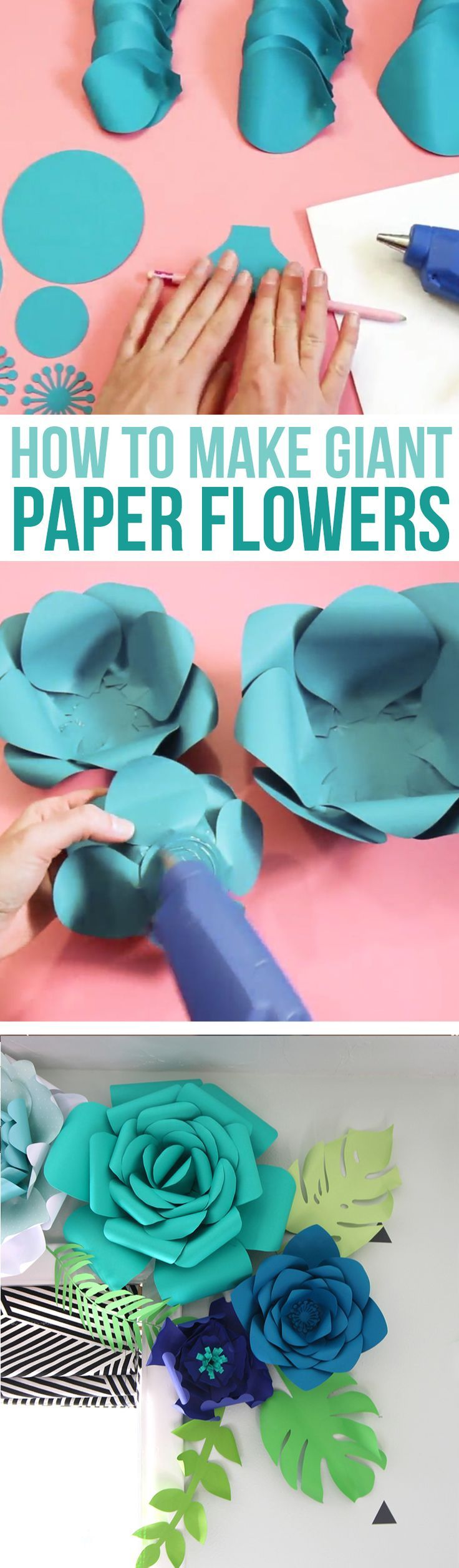 How to make giant paper flowers for DIY wedding decor, party backdrops or to decorate a nursery. Step by step instructions. All you need is cardstock and hot glue! 3D paper crafts | 3D Paper Flowers | Giant Paper Flowers