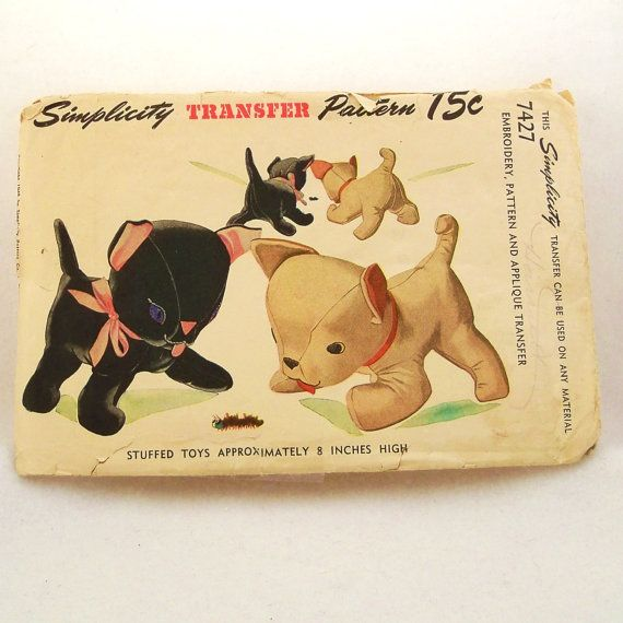 Vintage 1940s Toy Pattern Stuffed Cat Dog Simplicity 7427 | vintage ...