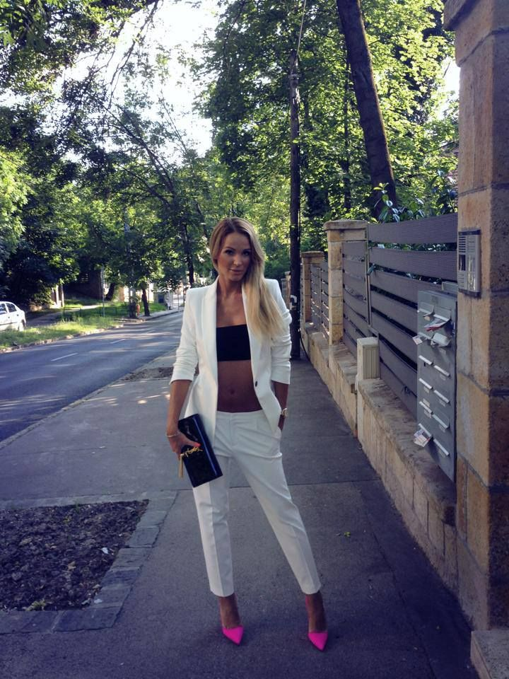 Gorgeous! White Suit, Black accesories, Fuxia Neon Heels