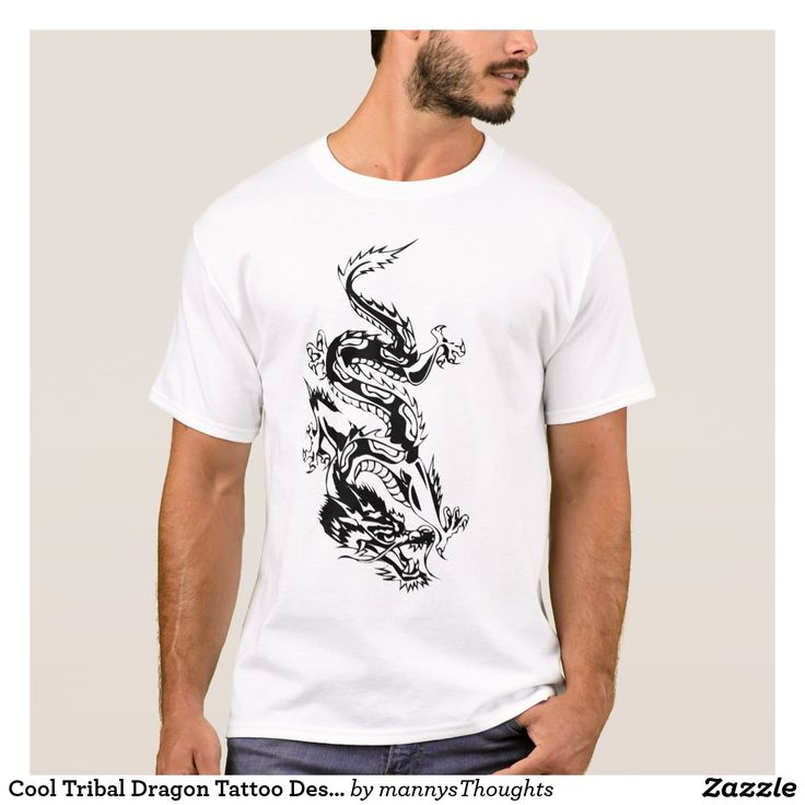 Cool Tribal Dragon Tattoo Designs Custom Art Remix T-Shirt