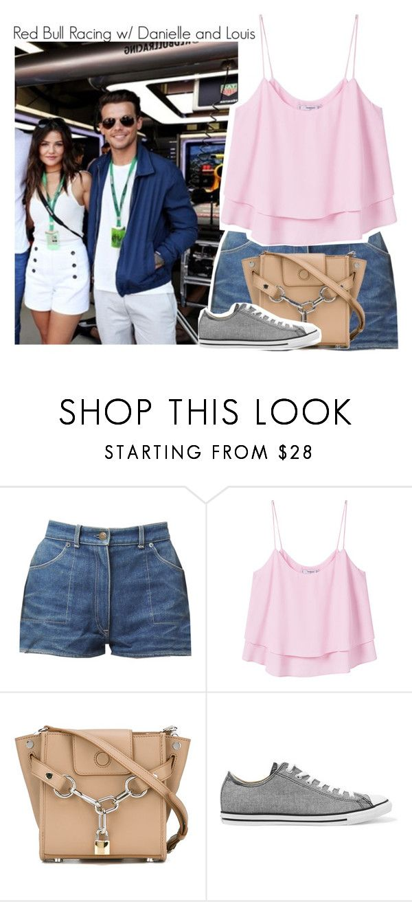 """""""Red Bull Racing w/ Danielle and Louis"""" by beccalynnward ❤ liked on Polyvore featuring MANGO, Alexander Wang and Converse"""