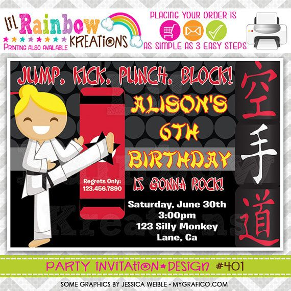 401 DIY Karate Party Invitation Or Thank You by LilRbwKreations