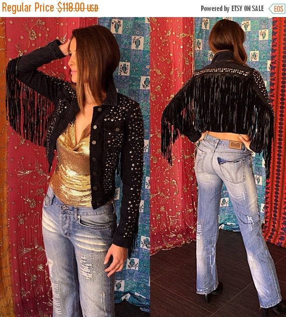 ONSALE Vintage 80s 90s Suede Fringe chaqueta tachonada supongo chaqueta Biker Punk