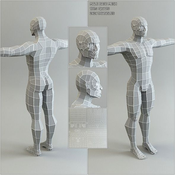 This package contains a low poly male base mesh. The mesh consists of 100% quads and is optimized for sculpting with even poly distribution and slightly higher poly concentrations in areas of high detail like the face. The clean edge flow makes it easy to modify the mesh and make conform fitting clothes. It is also a great starting point for low poly game characters.