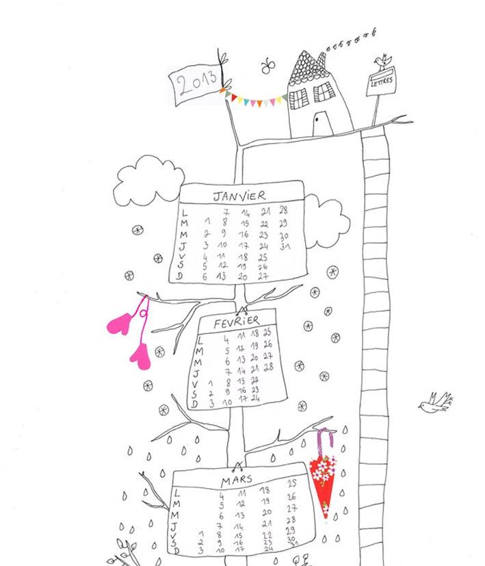 """Image of Le calendrier  2013 """"L'Arbre à colorier""""from papillon papillonnage: Image, Free Printable"""