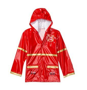 Little Boy`s Red Fireman Rain Coat Sizes 4/5 and 6/7