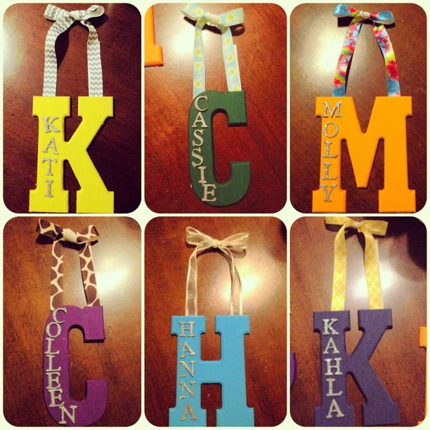 Make a wooden letter for each roommate for your door