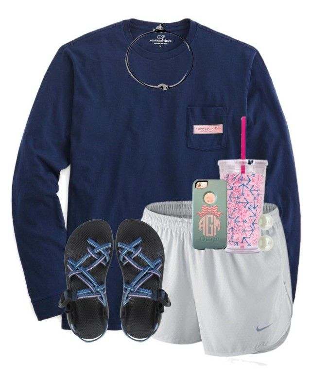 """V is for my favorite VINEYARD VINES!"" by maliaackermann ❤ liked on Polyvore featuring Vineyard Vines, NIKE, Chaco and Majorica"