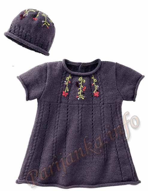 Платье и шапка (д) 23*165 Bergere de France №3484