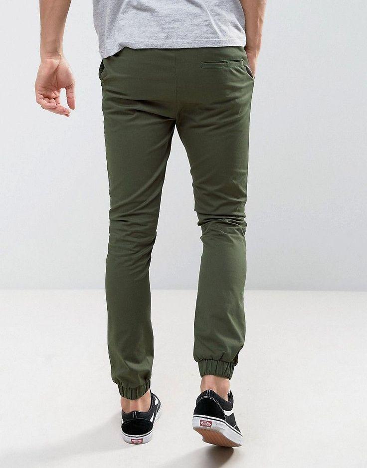 ASOS Skinny Woven Joggers In Dark Khaki - Green