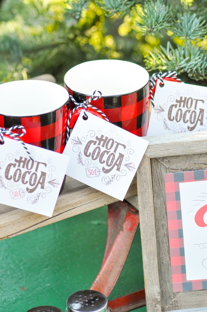 Hot cocoa party with FREE printables! Hot chocolate tags & signs! Love the tree lot! Cute Christmas party! By Kara's Party Ideas!