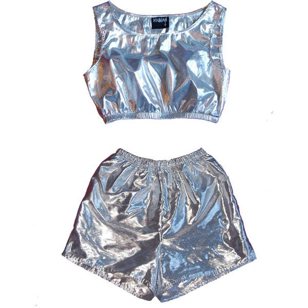 Silver Crop Top Sea Punk Mirror Shiny Reflective Cyber Futuristic... ($46) ❤ liked on Polyvore featuring shorts, tops, outfits, playsuit and barbarella