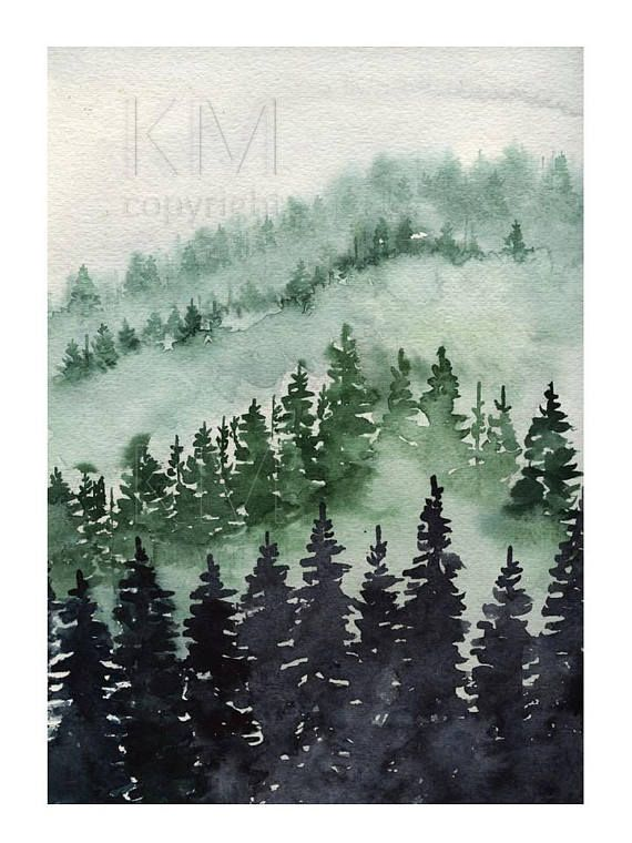 Forest Wall Art Watercolor Painting Forest Print Forest Etsy Forest Wall Art Pine Tree Art Art